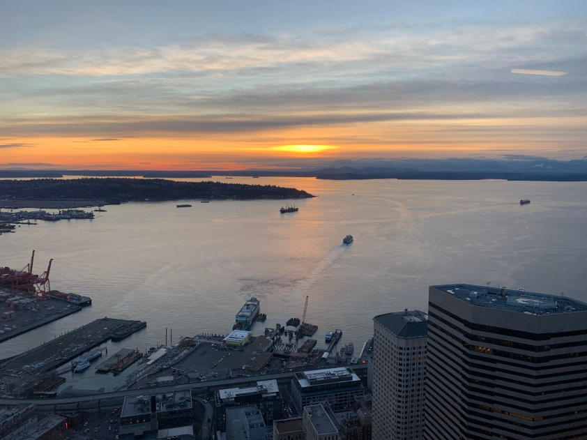 A sunset over Puget Sound, from the offices of Dropbox Seattle